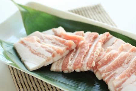 freshness slided pork bacon for Korean BBQ image photo