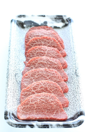 freshness Japanese beef for korean BBQ in food container  photo