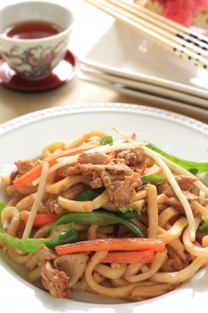 chinese cuisine, fried shanghai noodles with tea