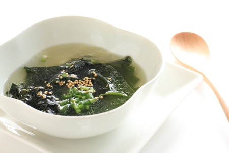korean cuisine, seaweed wakame soup with sesame