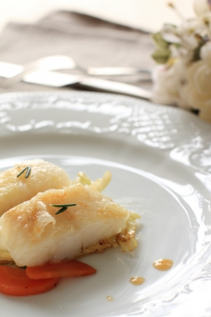 french cuisine: french cuisine, Flatfish sauteed Stock Photo
