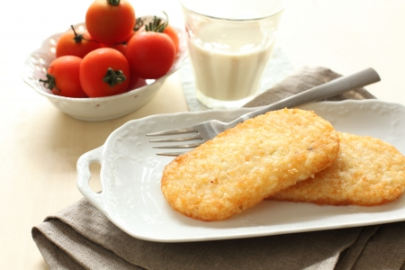 browns: hashed browns potato and milk for gourmet breakfast