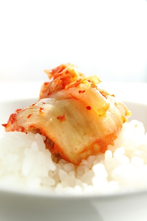 fermentation: korean cuisine, fermentation food Cabbage Kimchi on rice Stock Photo