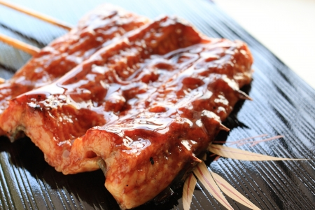 eel: Japanese summer cuisine, grilled eel on white dish Stock Photo