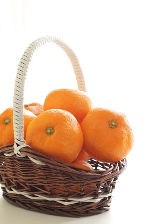 fruitmand: Mandarijn in fruitmand met lint Stockfoto
