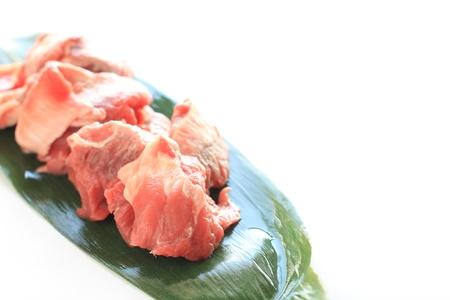 tendon: freshness beef tendon on green leaf Stock Photo