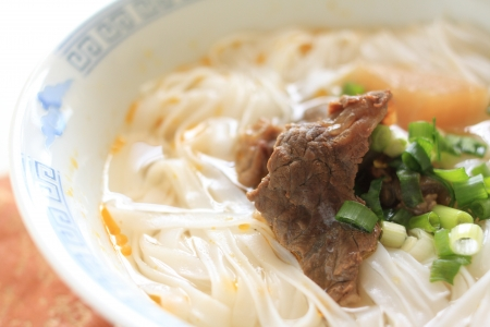 tendon: chinese food, simmered beef tendon on Ho Fun Rice noodles