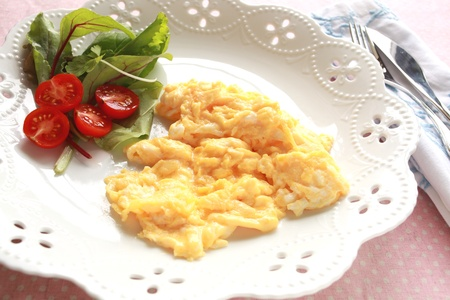 scramble: scrambled egg and vegetable salad for gourmet breakfast image Stock Photo