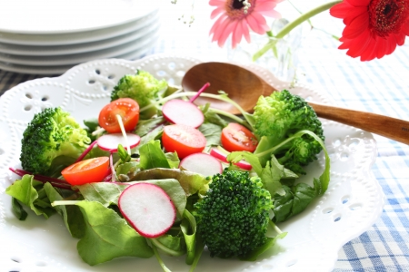 appetize: broccoli and mixed vegetable salad