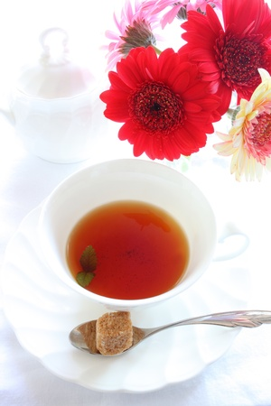 elegant pink gerbara and English tea photo