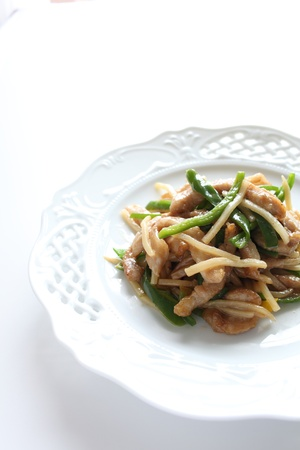 cuisines: chinese cuisine, green bell pepper and pork stir fried Stock Photo
