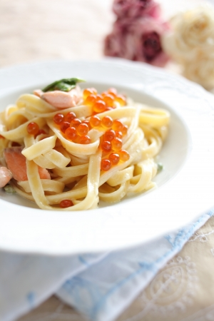 ingedient: Fusion italian food, Salmon fish and ikura fettuccine