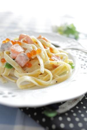 Fusion italian food, Salmon fish and ikura fettuccine