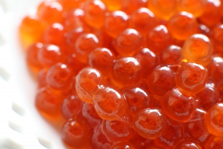 ingedient: Japanese food, soy sauce Ikura Salmon fish roe Stock Photo