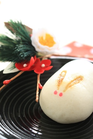 Japanese confection, manju in rabbit shape for new year food image photo