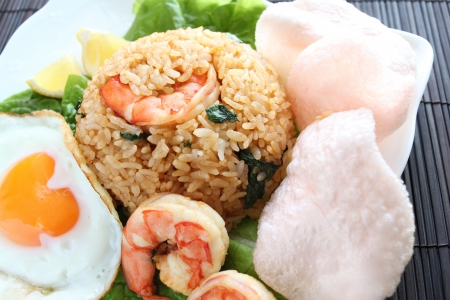 goreng: Indonesian food, Nasi  Goreng seafood fried rice served with shrimp crispy