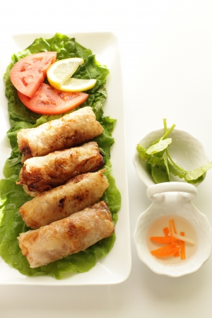 vietnamese food: Vietnamese food, rice paper and mince Spring roll