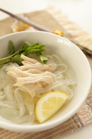 vietnamese food: Vietnamese food, chicken on rice noodles Pho Stock Photo
