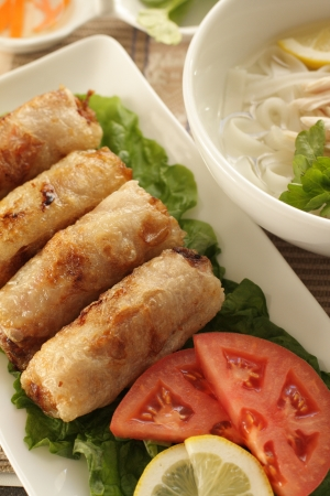 vietnamese food: Vietnamese food, rice paper and mince Spring roll and Pho