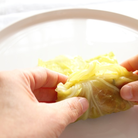 russian food: Russian food, cooking of Cabbage roll Stock Photo