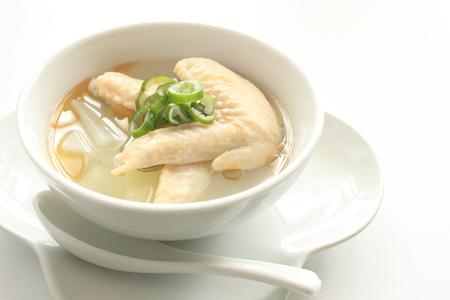 chicken soup: Chinese food, chicken and cabbage soup