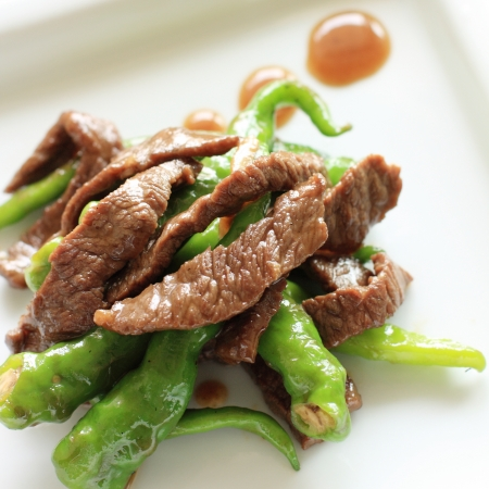 stir up: close up o chinese food, pepper and beef stir fried Stock Photo