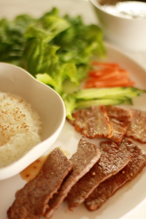 Korean food, Yakiniku and rice photo