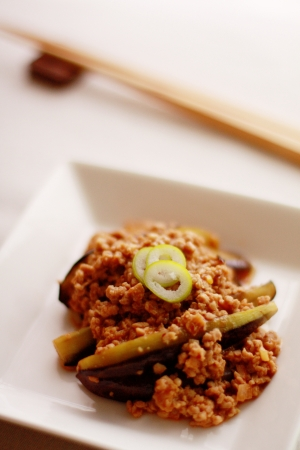 egg plant: Chinese food, egg plant and mince stir fried Stock Photo