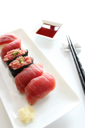 maguro: Japanese food, Maguro Sushi with soy sauce Stock Photo