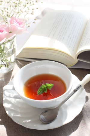 herbal mint tea and book photo