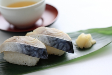 Japanese food, mackerel Sushi and green tea Stock Photo - 22845138