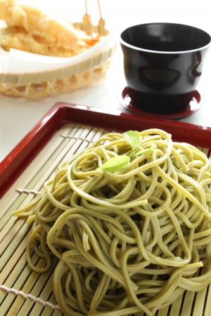 soba noodles: Japanse food ingredient, green tea soba noodles