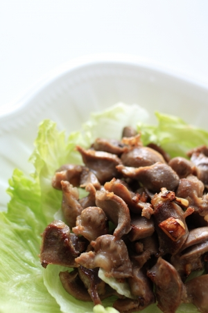 gizzard: Chinese food, gizzard and garlic stir fried Stock Photo