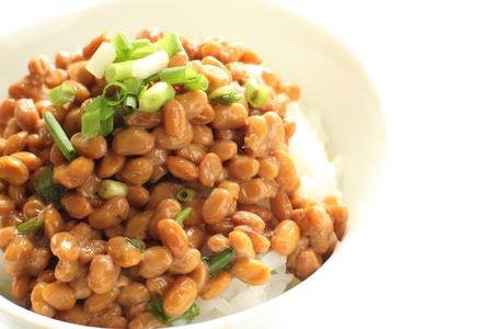 日本の食べ物、納豆、米 写真素材