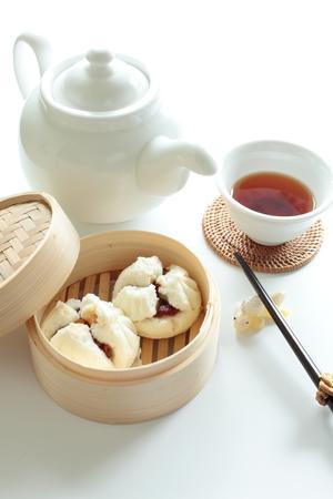 bao: Chinese food, Cha siu bao Roasted pork Bun Stock Photo