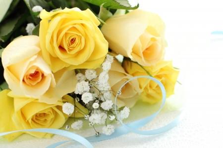 Roses jaunes Bouquet avec copie espace Banque d'images - 23447659