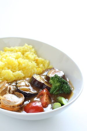 safran: seafoon curry and saffron rice Stock Photo