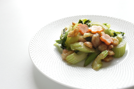 stir up: close up of Chinese gourmet, chicken soft bone and celery stir fried Stock Photo