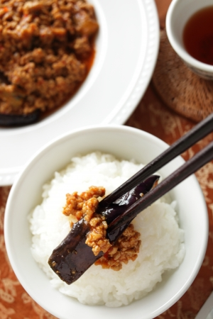 cuisines: Chinese food, mince pork and eggplant stir fried on rice Stock Photo