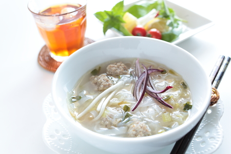 vietnamese food: Vietnamese food, rice noodles and meat ball Stock Photo