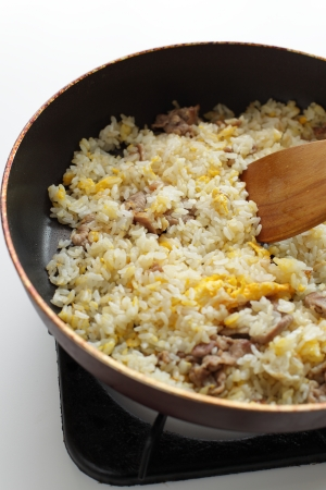 copys pace: pork and egg fried rice on pan Stock Photo