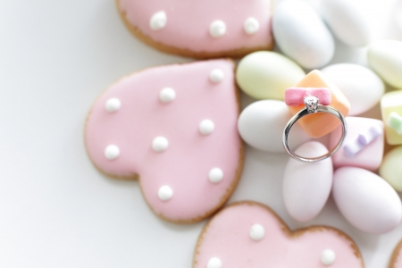 diamond shaped: heart shaped icing cookie and diamond ring