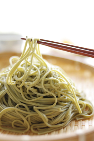 soba noodles: Japanese food, Green tea Soba noodles on bamboo basket