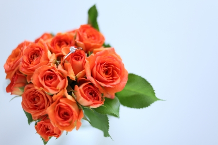 Orange roses bouquet and diamond ring Stock Photo - 24311521