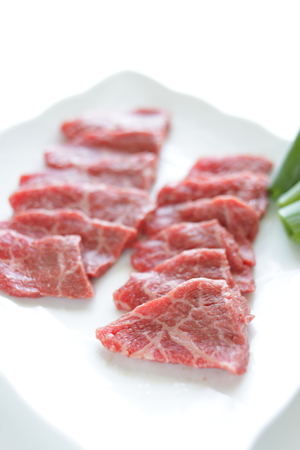 Korean food, raw beef ready for barbecue photo