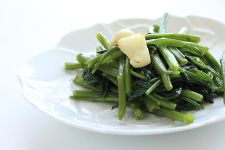 chinese spinach: Thai food, water spinach and garlic stir fried