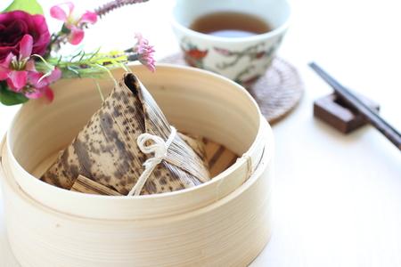 cha: Chinese Yum Cha food, rice dumpling Zongzi Stock Photo