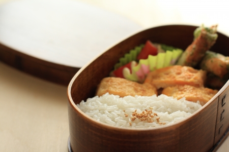 japanes: japanes food, rice and fried egg in Packed lunch Bento Stock Photo