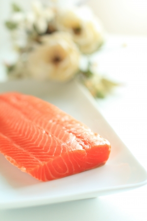 copy sapce: freshness salmon fillet for japanese Sashimi