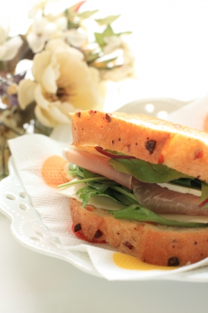 brea: ham and cheese sandwich with flower